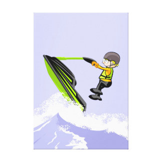 Lienzo Niño en su jet ski dando un salto en una ola