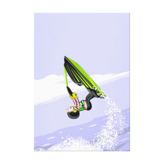 Lienzo Niño en su jet ski dejando una estela a su paso