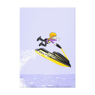 Lienzo Niño en su jet ski muestra su gran hazaña