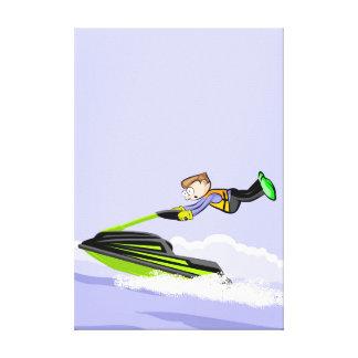 Lienzo Niño en su jet ski volando a gran velocidada