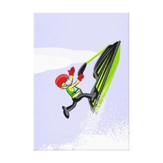 Lienzo Niño en un solo pie da un salto en su jet ski