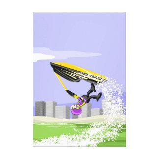 Lienzo Niño hace una pirueta en su jet ski