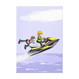 Lienzo Niño hacindo su acrobacia en un jet ski