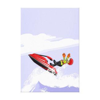 Lienzo Niño se suelta de su jet ski y se cae al agua