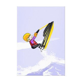 Lienzo Niño volando por el aire en su jet ski