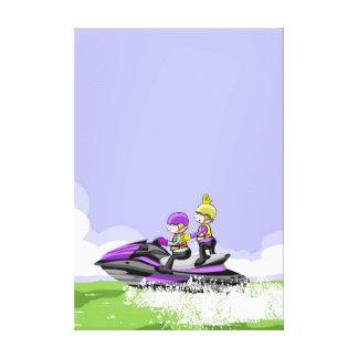 Lienzo Niños en jet ski haciendo piruetas en el mar