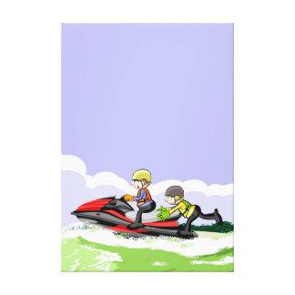 Lienzo Niños en su jet ski haciendo acrobacias en el mar