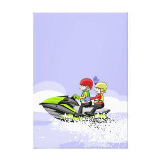 Lienzo Niños en su jet ski rompiendo olas