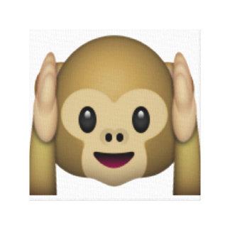 Lienzo No oiga ningún mono malvado - Emoji