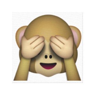 Lienzo No vea ningún mono malvado - Emoji