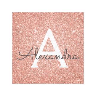 Lienzo Nombre y inicial color de rosa del monograma del
