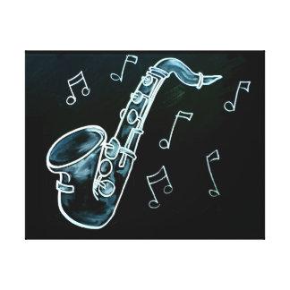 Lienzo Notas del saxofón y de la música