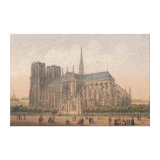Lienzo Notre Dame, litografía de París de Charles Rivière
