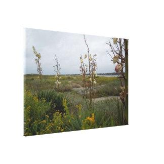 Lienzo Nubes y Wildflowers - isla del roble, NC de la
