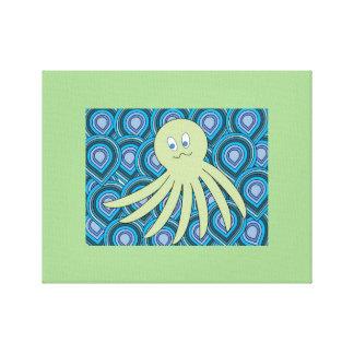 Lienzo octo verde en un mar que remolina del azul y del