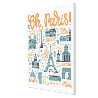 Lienzo ¡Oh, París! tipografía de la ciudad del |