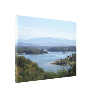 Lienzo Opinión de la orilla del lago