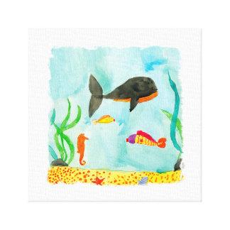 Lienzo Opinión del mar de la acuarela con la ballena y el