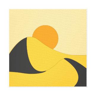 Lienzo orenge plano abstracto del amarillo del paisaje