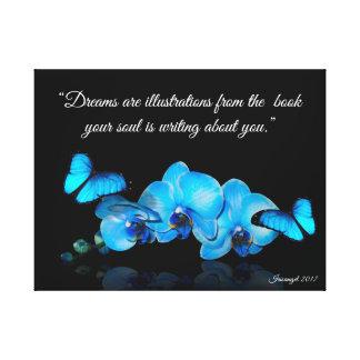 Lienzo Orquídeas azules y mariposas con cita
