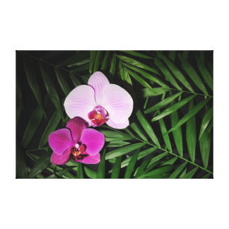 Lienzo Orquídeas con las hojas de palma