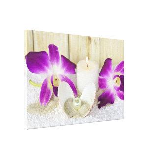 Lienzo orquídeas y vela del balneario con el seashell