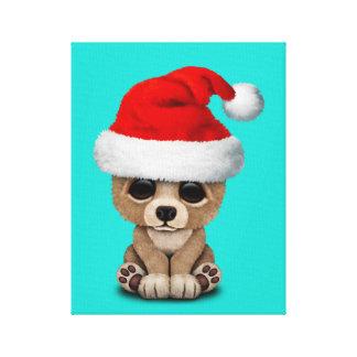 Lienzo Oso del bebé que lleva un gorra de Santa