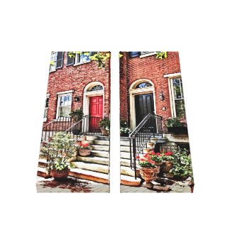 Lienzo PA de Philadelphia - Casa urbana con los geranios