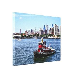 Lienzo PA de Philadelphia - Remolcador por el horizonte