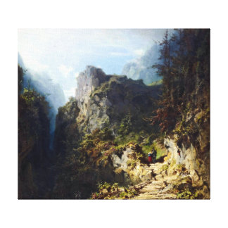 Lienzo Paisaje de la montaña de Carl Spitzweg con los