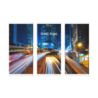 Lienzo Paisaje urbano de Hong Kong en la noche