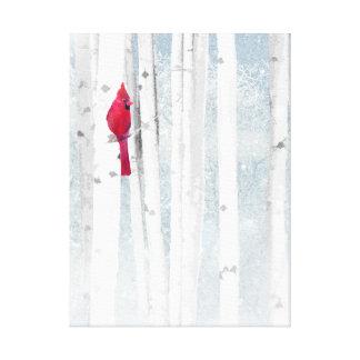 Lienzo Pájaro cardinal rojo en árbol de abedul nevoso
