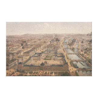 Lienzo Panorama de París el río Sena y Louvre