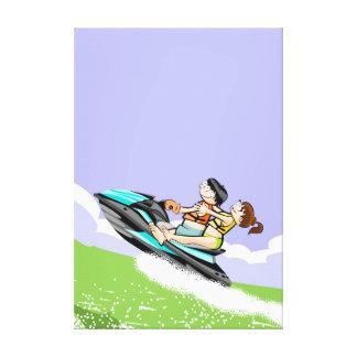 Lienzo Pareja disfrutando de un paseo en su jet ski