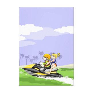 Lienzo Pareja paseando por la costa en su jet ski