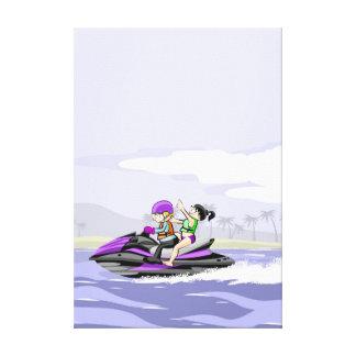 Lienzo Pareja va en su jet ski de paseo en el mar