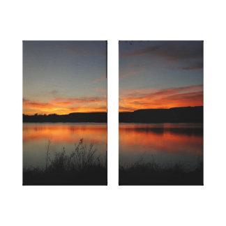 Lienzo Parque de estado pacífico de Scott del lago sunset