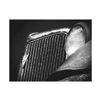 Lienzo Parrilla negra y blanca del coche del vintage