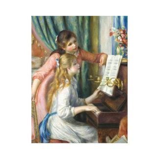 Lienzo Pedro Renoir - chicas jóvenes en el piano