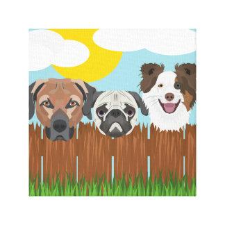Lienzo Perros afortunados del ilustracion en una cerca de