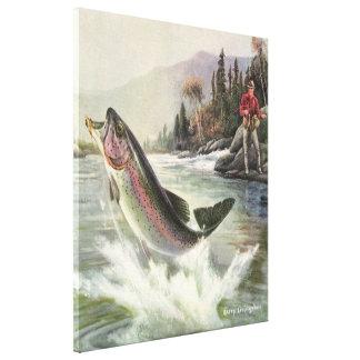 Lienzo Pescados de la trucha arco iris del vintage, pesca