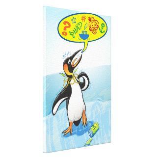 Lienzo Pingüino de rey desesperado que dice malas