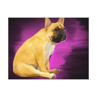 Lienzo Pintura al óleo del dogo francés que sienta el