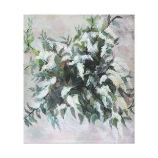 Lienzo Pintura al óleo del ramo de la cereza de pájaro