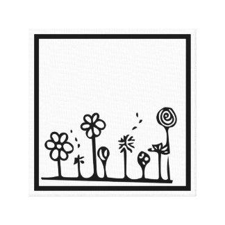Lienzo Pintura blanco y negro del dibujo de la flor
