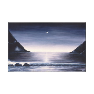 Lienzo Pintura blanco y negro del paisaje marino en lona