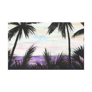 Lienzo Pintura de escena púrpura de la playa