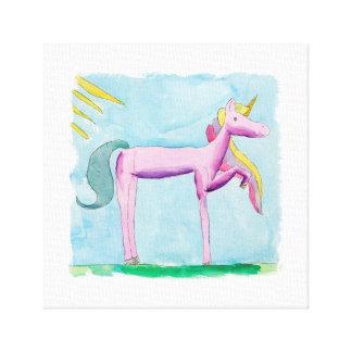 Lienzo Pintura infantil de la acuarela con el caballo del