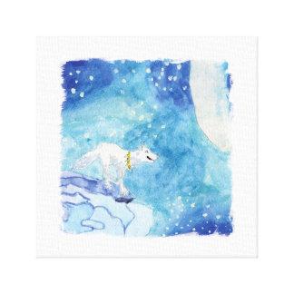 Lienzo Pintura infantil de la acuarela con el lobo nevoso