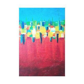 Lienzo Pintura roja del extracto de la lluvia en lona